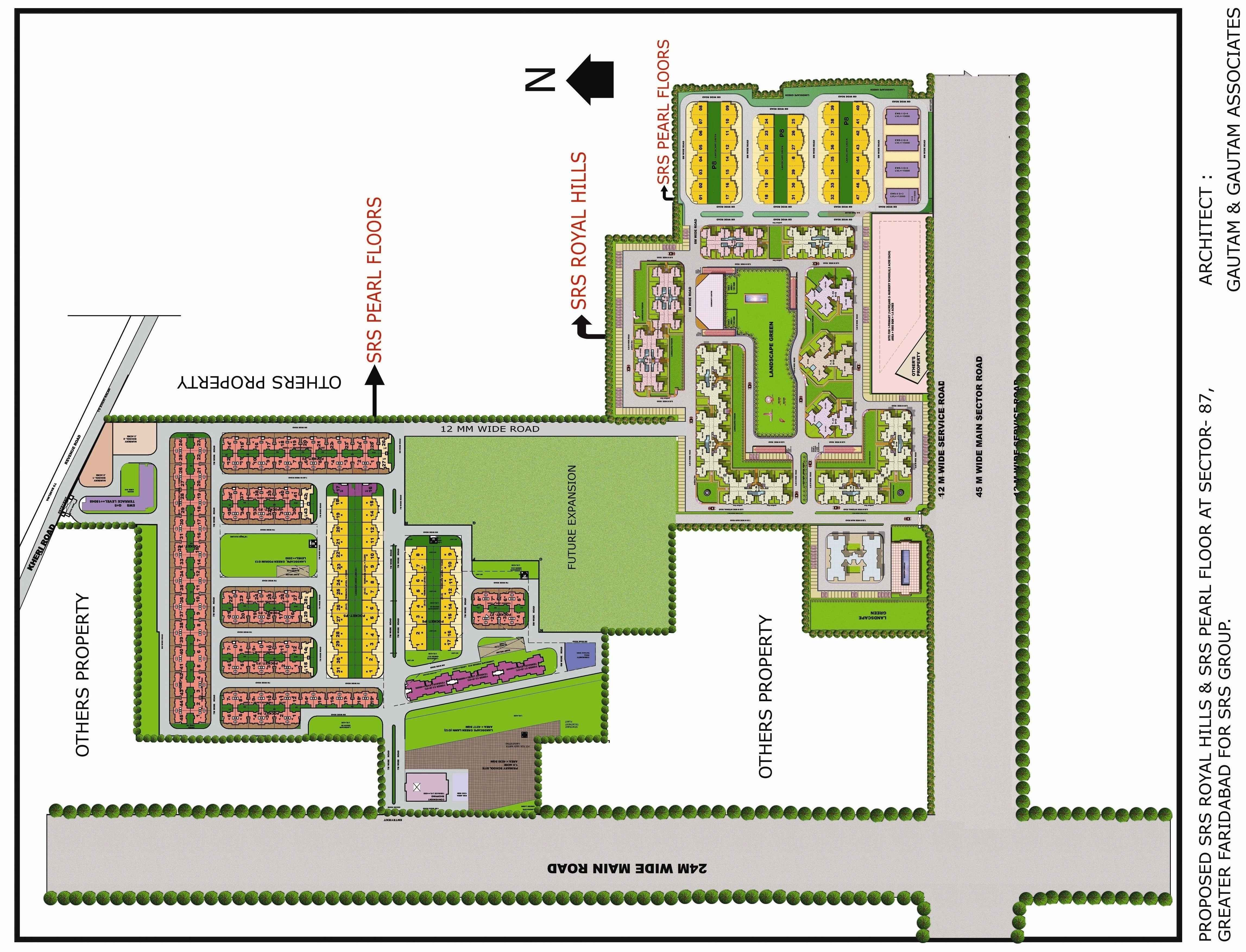Layout map of srs pearl floors faridabad